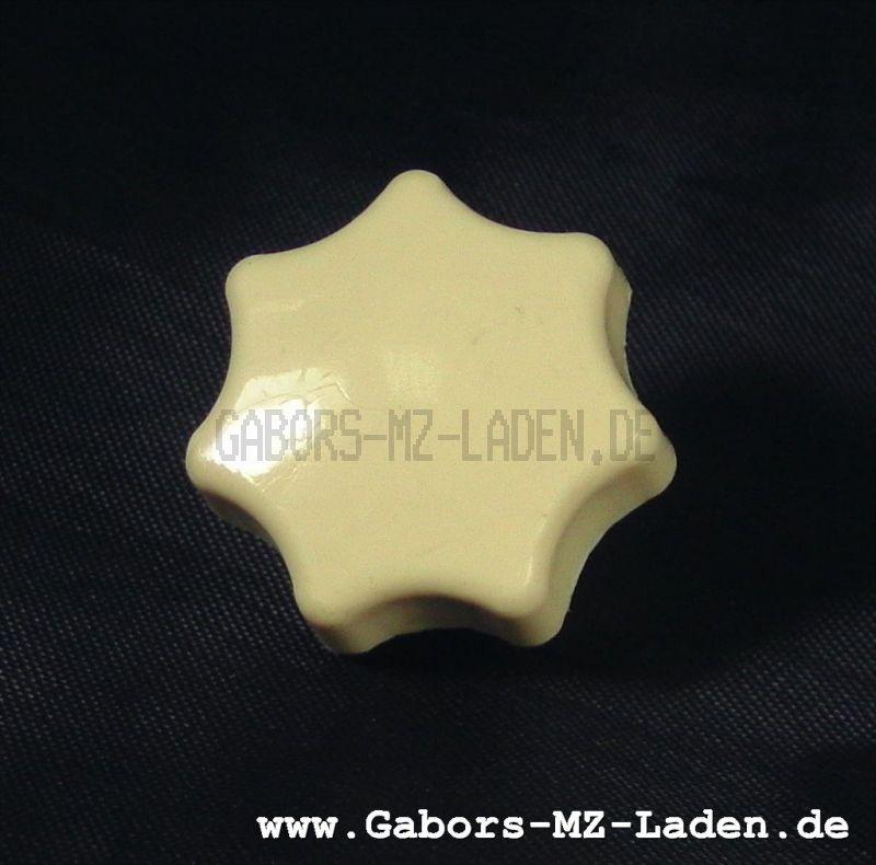 Sterngriffmutter M6 - mit Druckscheibe - elfenbein (beige) - lange Ausführung - MZ ES, MZ TS - auch f. Simson-Fahrzeuge verwendbar
