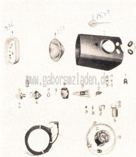 21. Scheinwerfer, Glühlampen, Tachometer