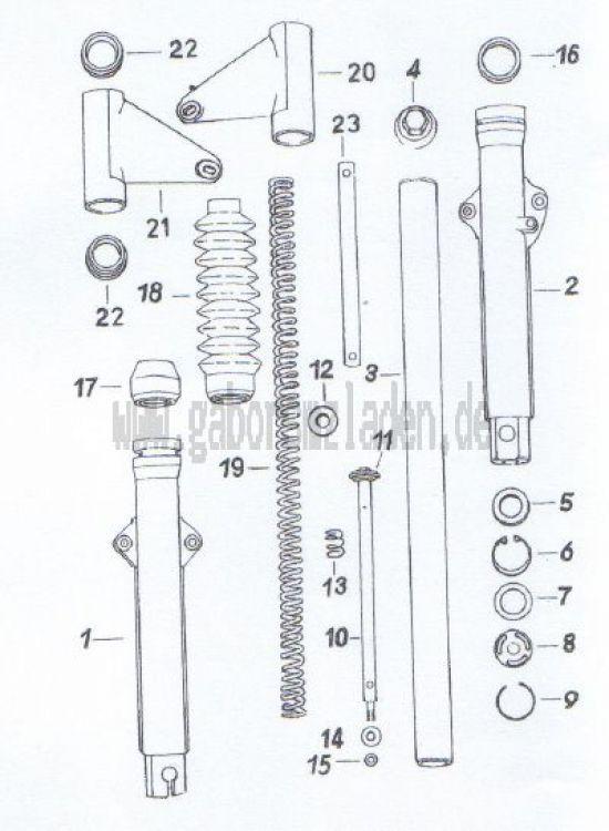 03. Vorderradfederung (Teleskopgabel mit Aluminiumgleitrohr)