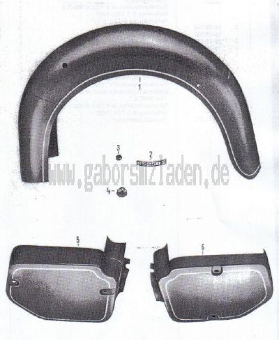 10 Hinterradkotflügel, Verkleidung