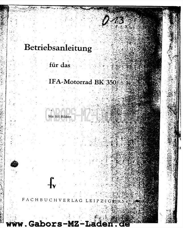 IFA BK 350 | books - copies | Gabors MZ Laden