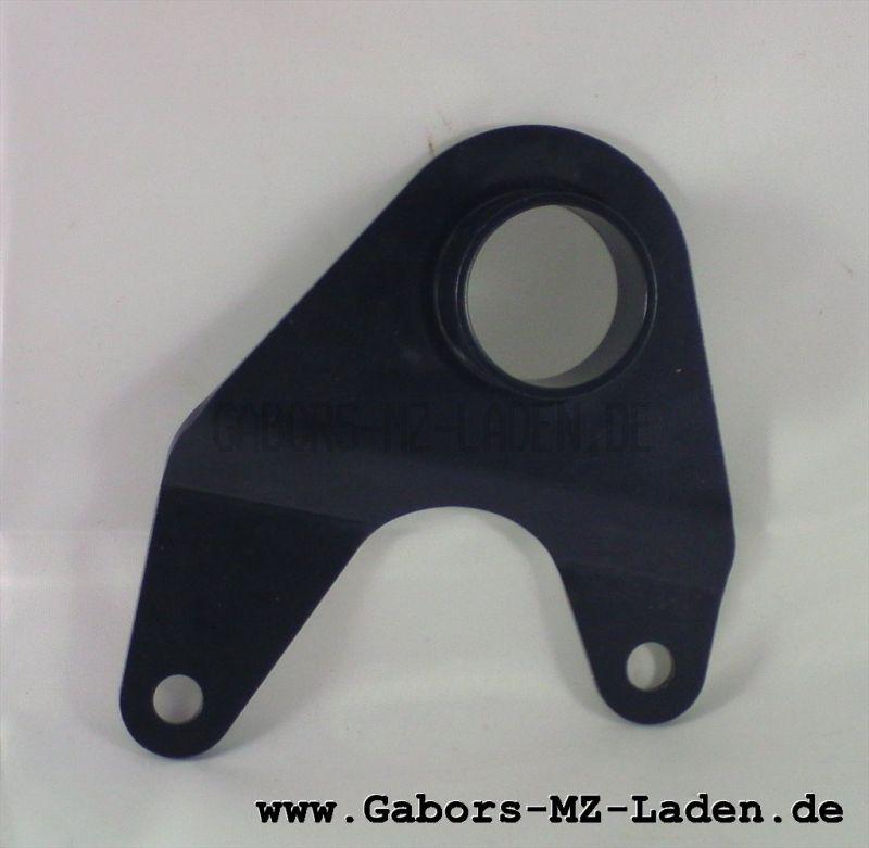 Motorschuh rechts   ohne Gewinde, schwarz beschichtet