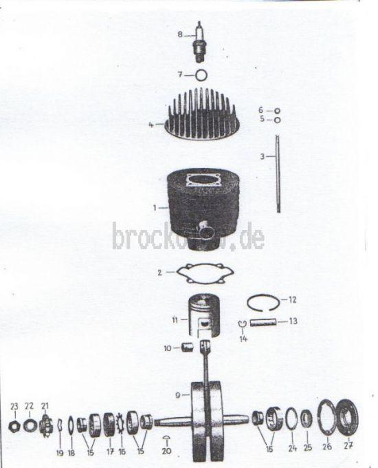 01. Zylinder, Kurbelwelle, Kolben
