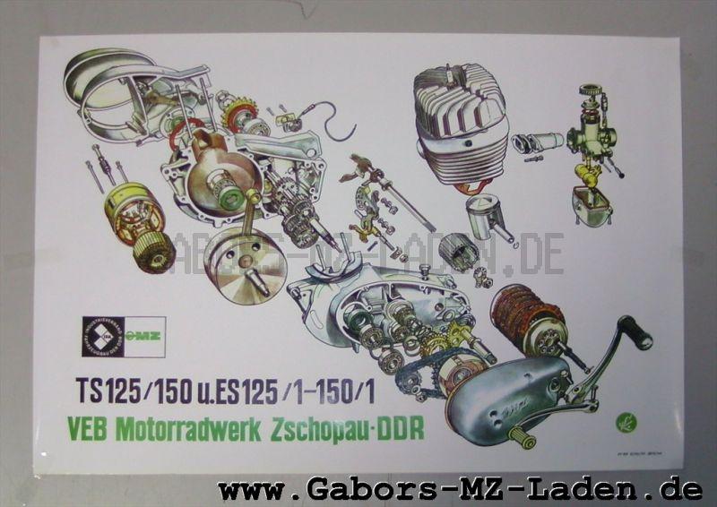 MZ Explosivdarstellung Motor MM 125/150 für ES 125/1, 150/1 TS125, 150