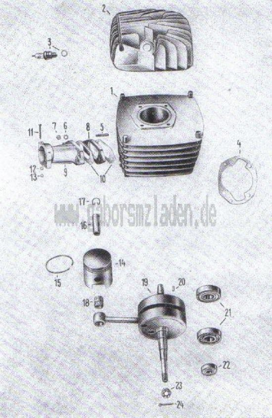 17. Zylinder, Kolben, Kurbelwelle