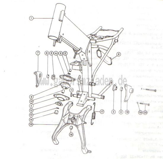 2.02. Rahmen- Motorbefestigung - Kippständer