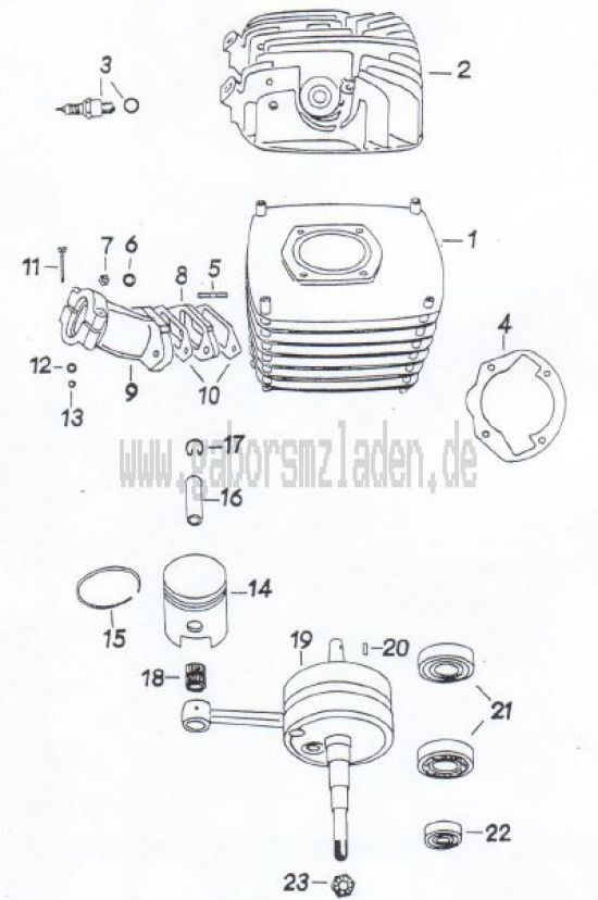 19 Zylinder,  Kolben,  Kurbelwelle ( MM 250/3 )