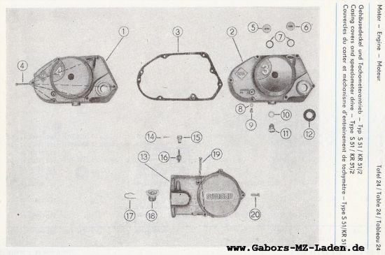 Motor - Gehäusedeckel und Tachometerantrieb (24)