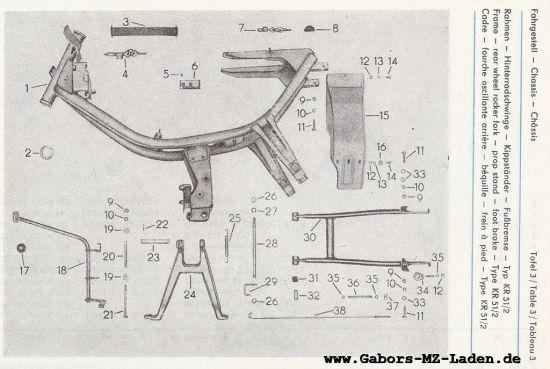 Fahrgestell - Rahmen, Hinterradschwinge, Kippständer, Fußbremse (03)