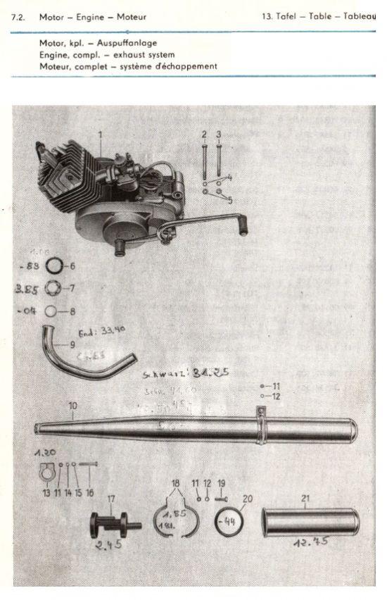 Motor - Motor vollständig, Auspuffanlage (13.)