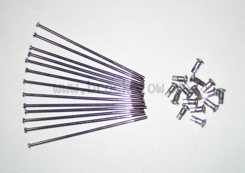 SET rayons JAWA 350 M4- * 110mm, 36pcs chromé y compris les mamelons de rayons (droit)