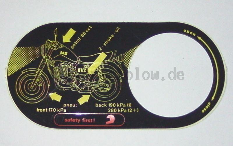 Aufkleber für Öeldosierung ETZ 251 / 301