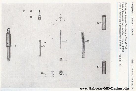 Fahrgestell - Reibungsgedämpftes Federbein (17)