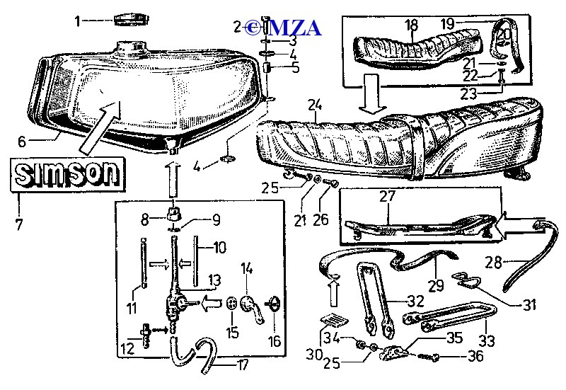 Kraftstoffbehälter, Sitzbank und Gepäckträger