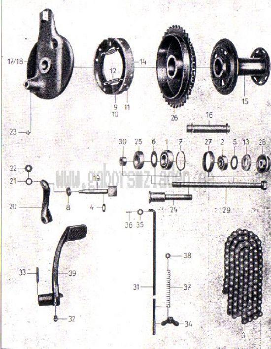 17. Hinterradnabe, Fußbremse