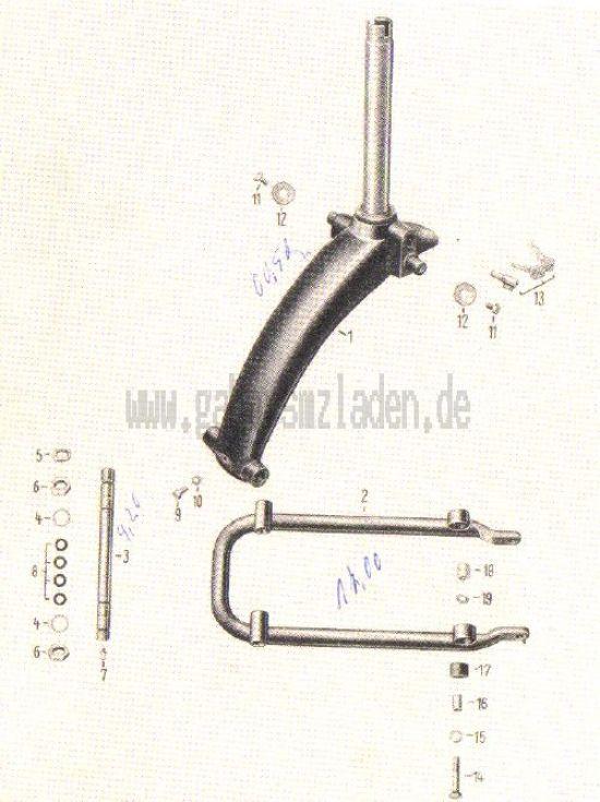 08. Träger für Vordergabel, Schwinggabel vorn