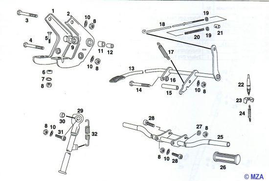02. Motorlager, Fußrastenträger, Fußbremshebel