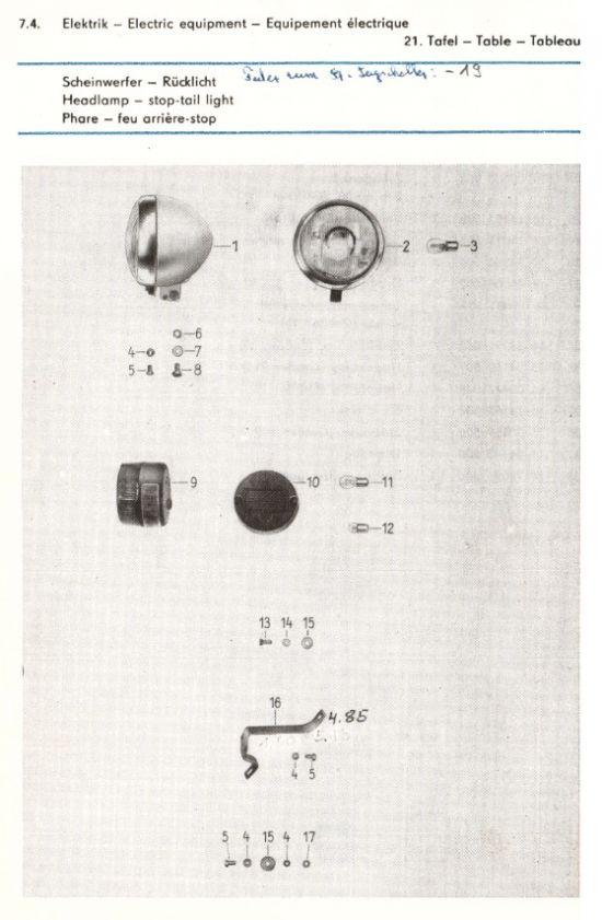 Elektrik - Scheinwerfer, Rücklicht (21.)