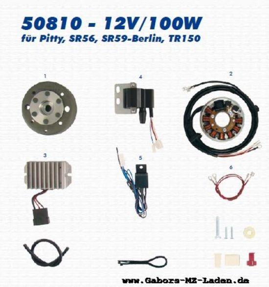 Encendido del magneto de alta tensión 50810 12V/100W - IWL Pitty, SR56 Wiesel, SR59 Berlin, TR150 Troll