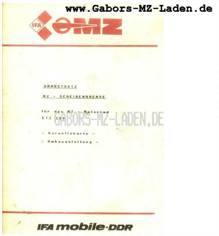 Umrüstsatz MZ-Scheibenbremse für ETZ 250