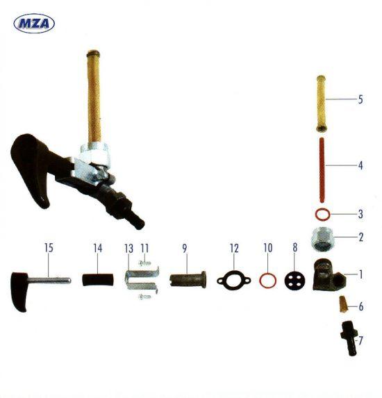 EHR Kraftstoffhahn (22389) Simson KR50 bis Fg-Nr. 10950