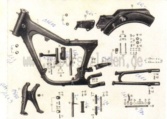 07. Rahmen, Kippständer, Sattelträger, hintere Schwinggabel