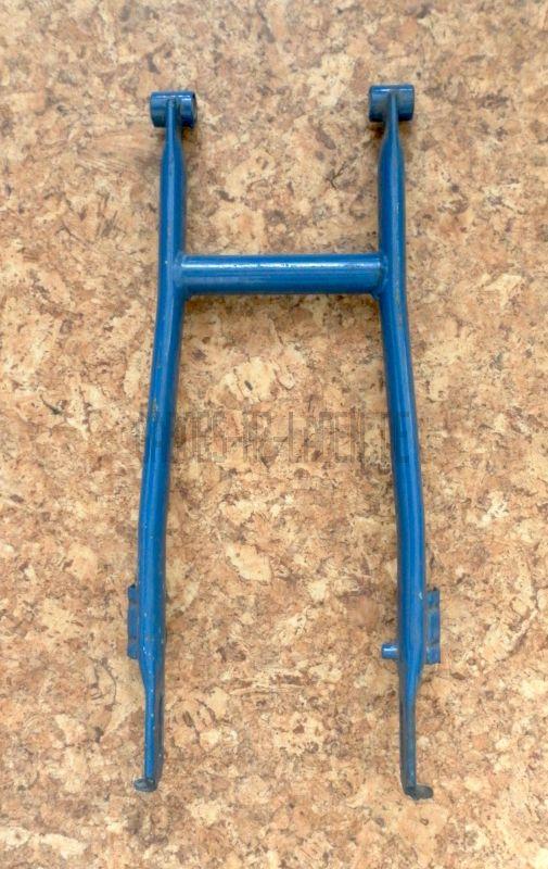 Schwinge hinten  - blau - mit montierter Gummibuchse und Innenrohr - Schwalbe KR51