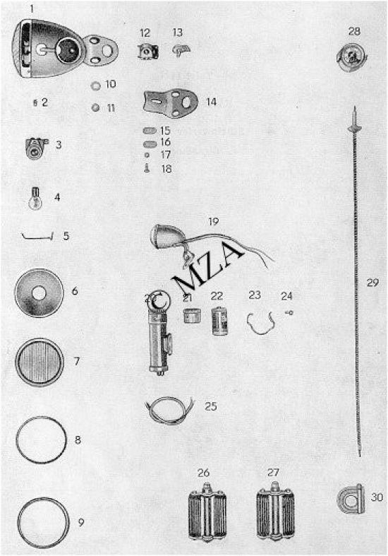 Elektrik - Scheinwerfer - Tachometer - Pedale - Luftpumpe - Signalhorn (11.)