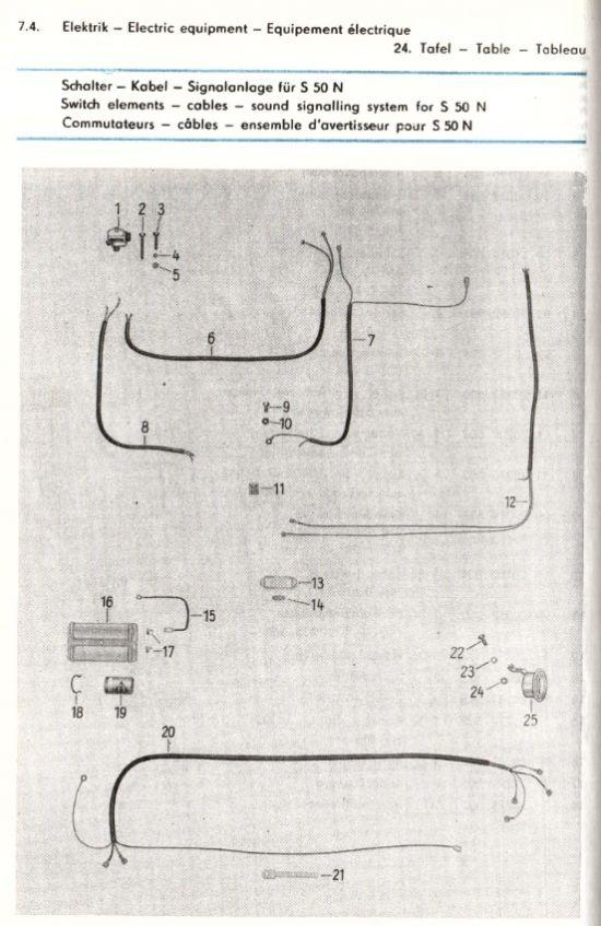 Elektrik - Schalter, Kabel, Signalanlage für S50 N (24.)