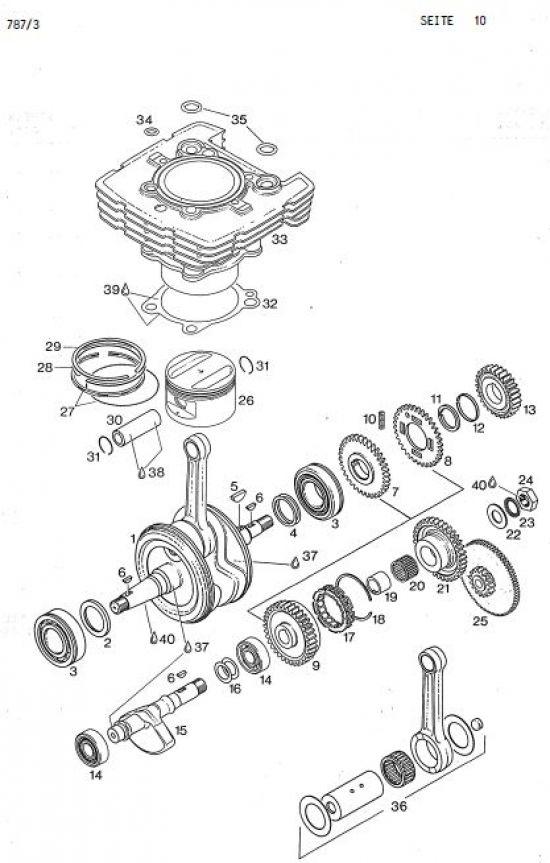 6.11 Motor - Kurbelwelle, Ausgleichs- und Elektrostarter-Trieb, Kolben, Zylinder