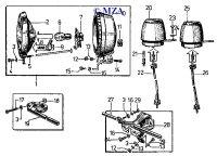 Scheinwerfer, Tachometer, Drehzahlmesser und Blinkleuchtenhalterungen