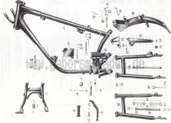 09. Rahmen, Kippständer, Sattelträger, hintere Schwinge