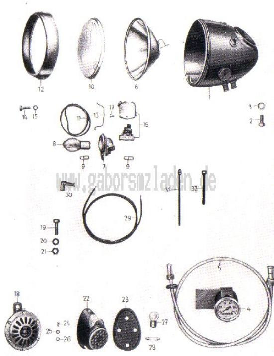17. Scheinwerfer, Tachometer, Signalhorn, Bremsschlusskennzeichenleuchte, Abblendschalter