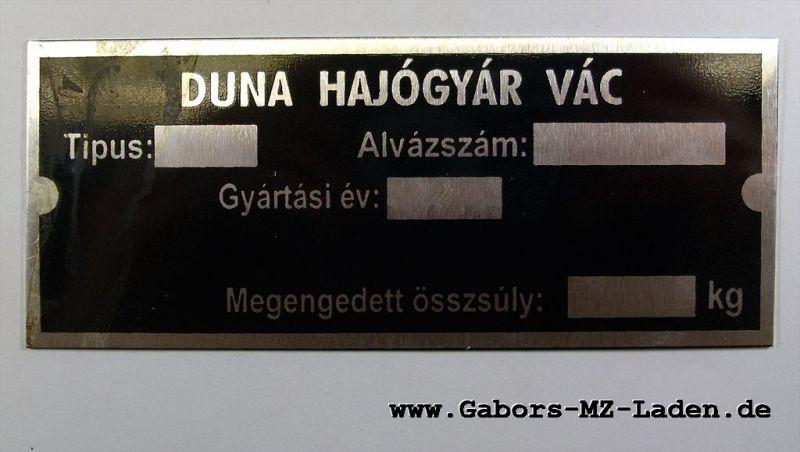 Typenschild DUNA ungarisch
