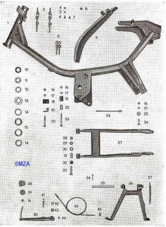 01. Rahmen, Steuersatz, Hinterradschwinge, Kippständer, Fußbremshebel mit Bowdenzug, Hinterradschutzblech