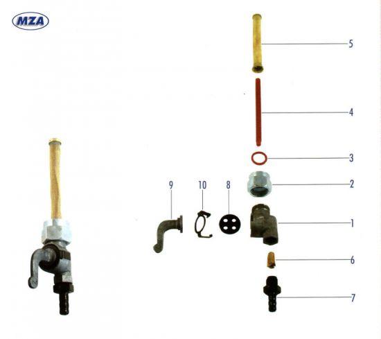 Fahrgestell - Kraftstoffhahn EHR (10316) Simson S50