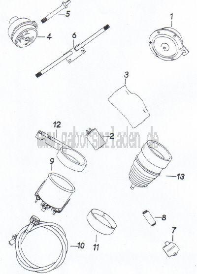 16 Signalhorn,  Blinkanlage,  Tachometer,  Drehzahlmesser