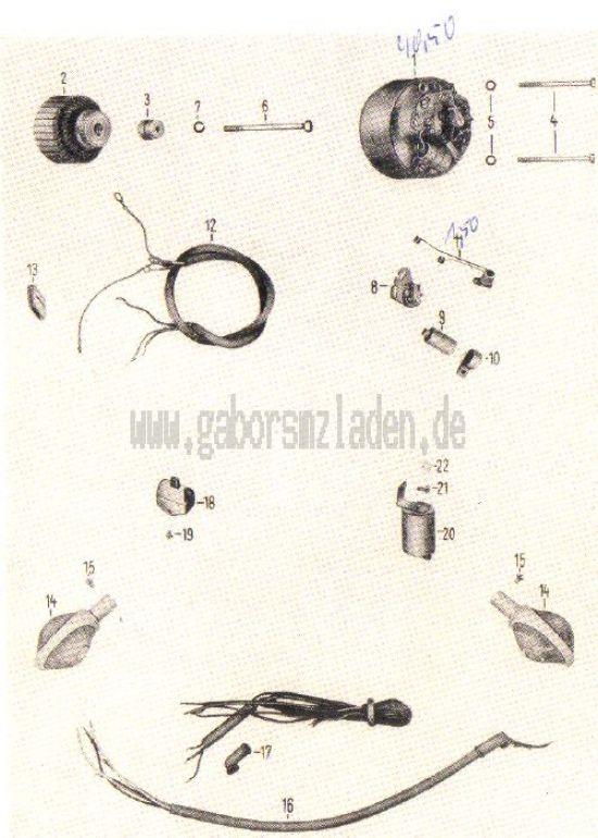 19. Lichtmaschine, Unterbrecher, Lenkerblinkleuchte