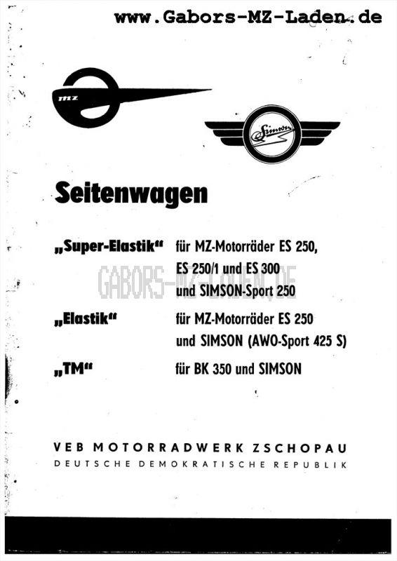 """Seitenwagen TM """"Elastik"""" """"Super Elastik"""" BK - ES/1 , AWO"""