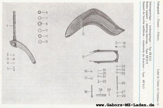 Fahrgestell - Schwingenträger, Lenkungslager (13)