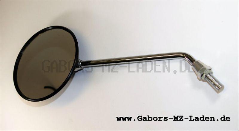 1x Rückblickspiegel, Rückseite Nockenform - Gewinde M10, Ø122mm - Spiegelarm Edelstahl verchromt
