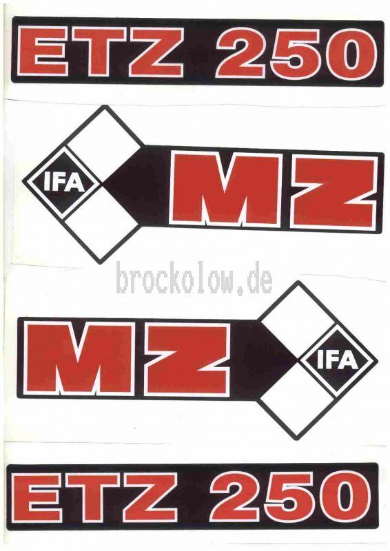 Aufkleber/Klebefolie Satz ETZ 250 schwarz/weiß/rot