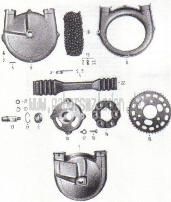 15. Hinterradantrieb, Kettenschutz