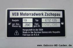Typenschild ETZ 125
