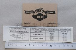 Klebefolie Reifendruck / Kettenspannung MUZ660