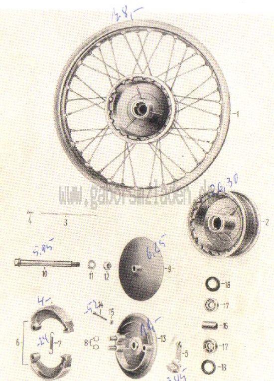 11. Vorderrad, Radkörper, Bremse, Bremsbetätigung