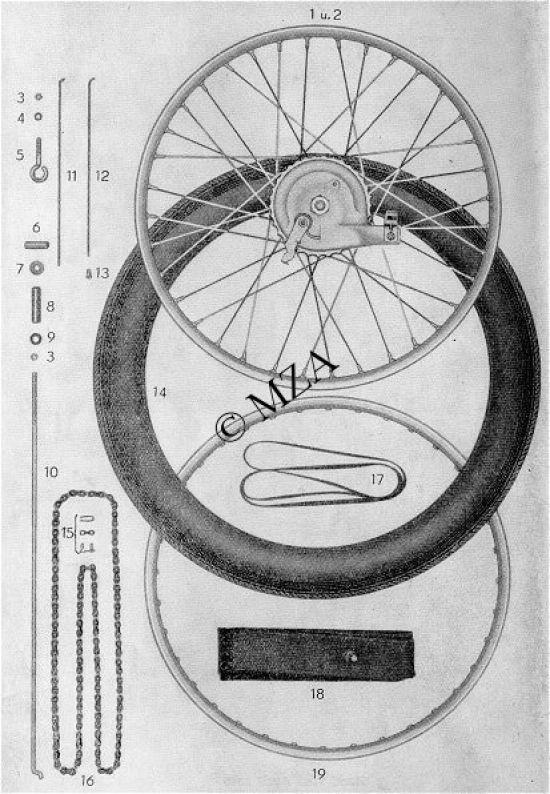 07. Vorder- und Hinterrad, Bremsstange, Kette