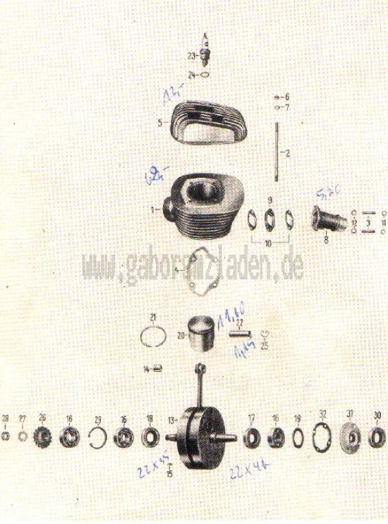 01. Zylinder, Kolben, Kurbelwelle