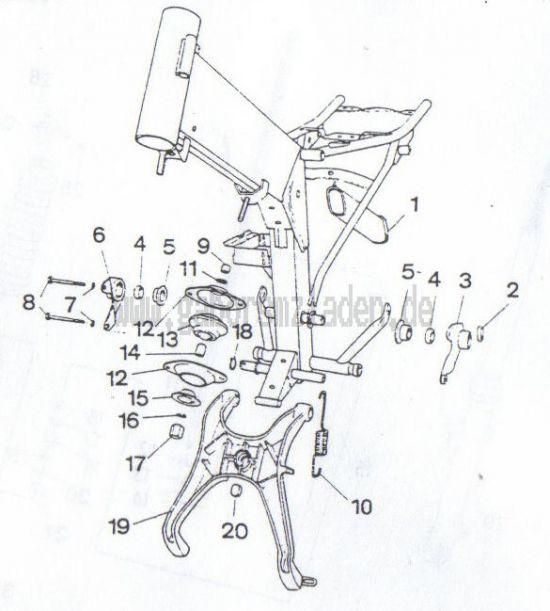 2.02. Rahmen - Motorbefestigung, Kippständer