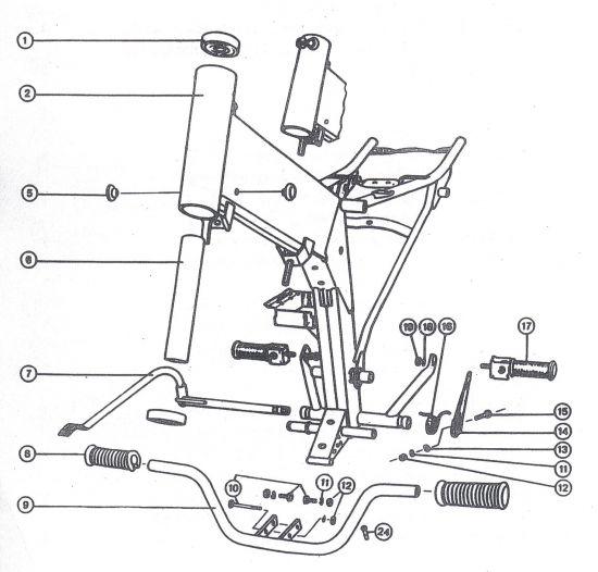 Rahmen, Fussrasten, Hinterradbremse